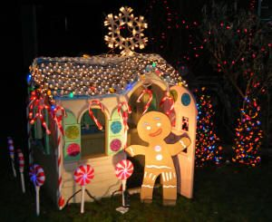Kids Playhouse Turned Into Lifesized Gingerbread House Christmas Pinterest Lights And Decorations