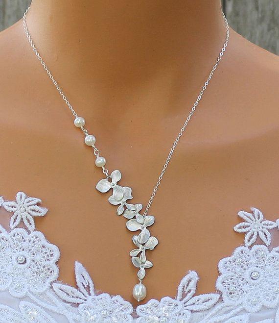 Collier orchidée - collier de perles d'eau douce, orchidée Cascade, idées de cadeaux bijoux, bijoux de mariée, demoiselles d'honneur de mariage