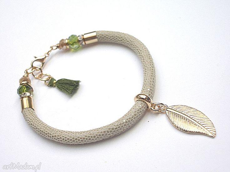 • nietypowe bransoletki, biżuteria - strap latte & greenery