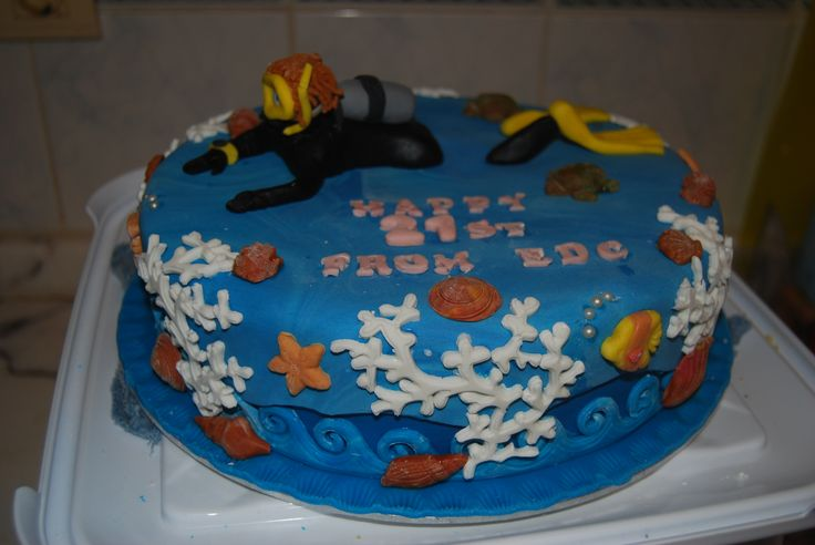 21st Under the Sea Scuba Diving Birthday Cake
