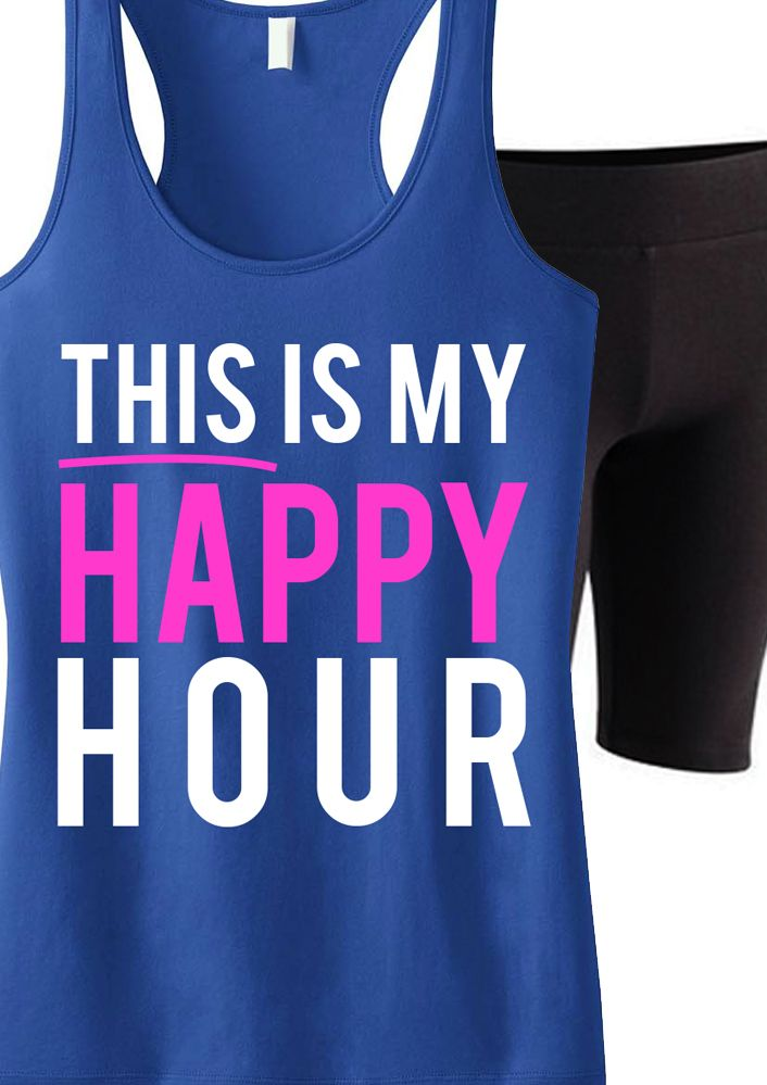 """Awesome tank for Any #Workout! Great for #Running or even #Crossfit. """"This Is My Happy Hour"""" Tank Top by NoBullWomanApparel. Only $24.99, click here to buy https://www.etsy.com/listing/199351937/this-is-my-happy-hour-workout-tank-top?ref=shop_home_active_2"""