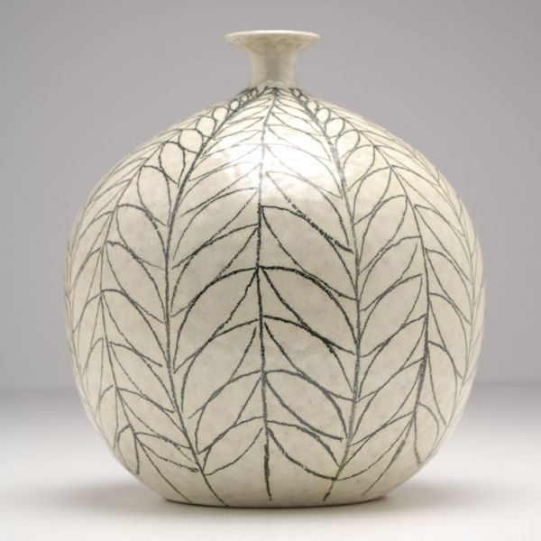 Raymor Italian pottery bulbous vase with mid century modern leaf decoration.