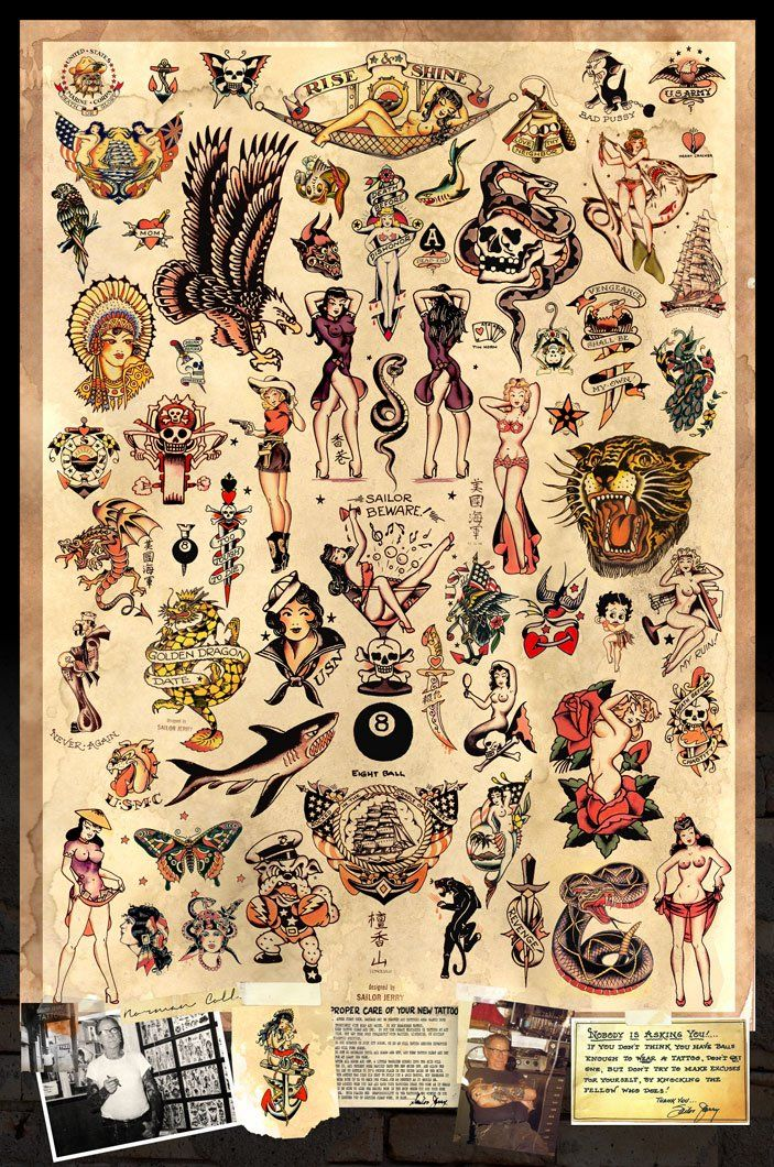 """Sailor Jerry Tattoo Flash Poster 24""""x36"""" New. Ships Rolled In Shipping Tube."""