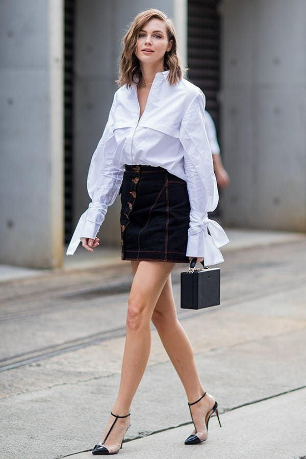 a215d9b6834 POPLIN BLOUSE + DENIM SKIRT + STRAPPY PUMPS. 6 Super-Photogenic Summer  Outfits (That Are So Easy to Copy) #purewow #shoppable #beauty #clothing  #tip #style ...