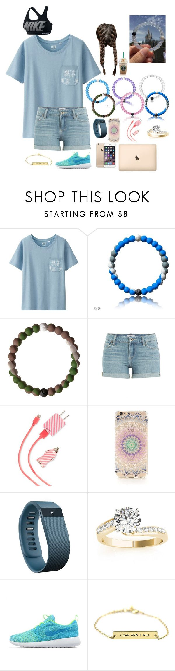 """""""Untitled #284"""" by mackenzielacy814 ❤ liked on Polyvore featuring Uniqlo, Everest, Paige Denim, ban.do, Forever 21, Fitbit, Allurez and NIKE"""