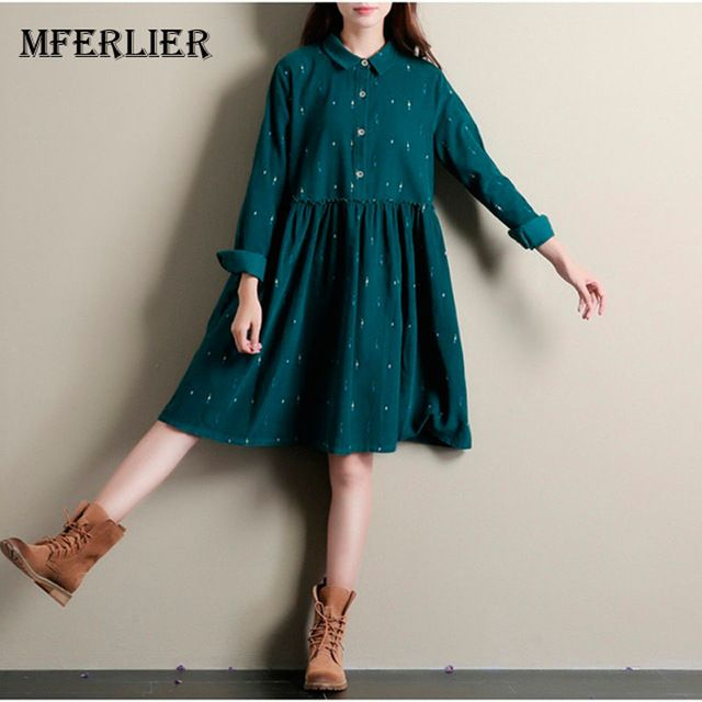 Today Sale $17.52, Buy Winter Autumn Dresses Green Color Long Sleeve Casual Loose Dresses Turn Down Collar Corduroy Dress A Line Lolita Dress