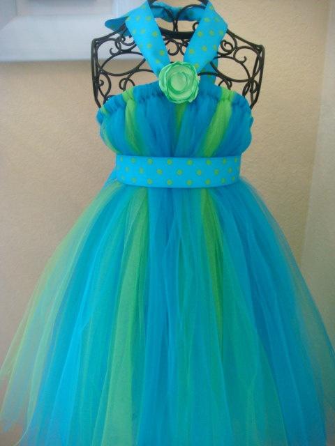 Neon Green and Sky Blue Polka Dot tutu dress by raelei on Etsy, $25.00