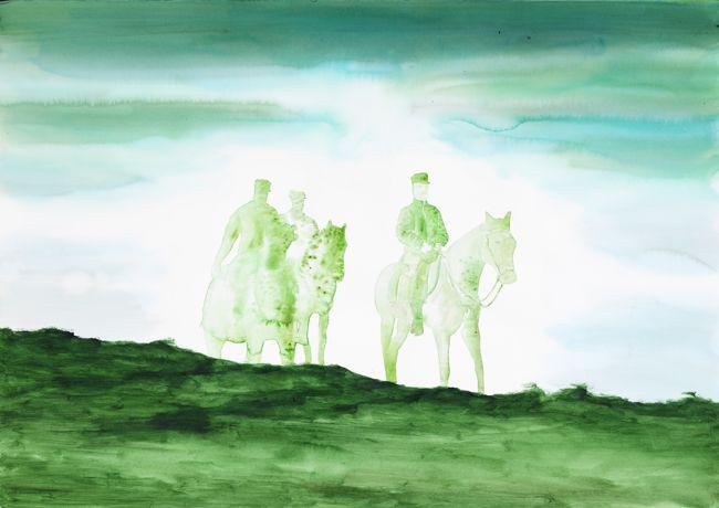 Pierluigi Pusole, Tre uomini a cavallo, 2011, Acrylic and watercolour on paper, 70 x 100 cm