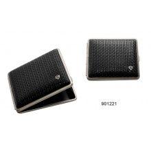 Papierośnica VH 901221 ze skóry naturalnej na 18 KS/24 slim, metal, karbonowy, czarny/srebrny/nikiel, 10x8.4x1.2 cm