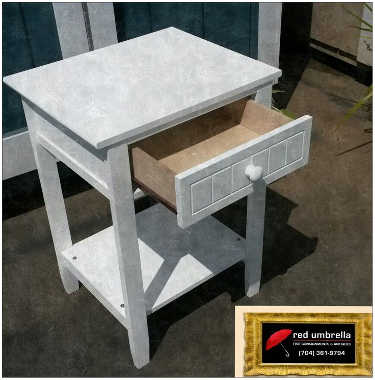 White drawer end table