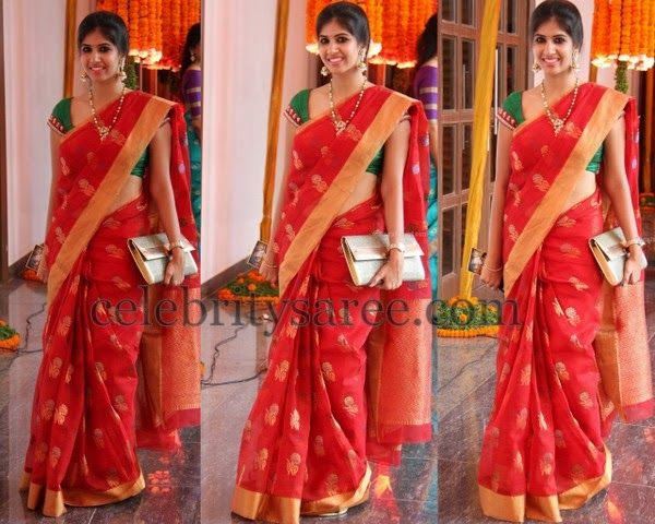Pretty Lady in Red Chanderi Saree | Saree Blouse Patterns