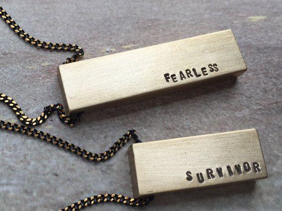 Survivor Necklace, Fearless survivor necklace gift for Cancer survivor Unisex bar pendant necklace, personalized necklace, rustic bar necklace for men, men's necklace by Sora Designs Black