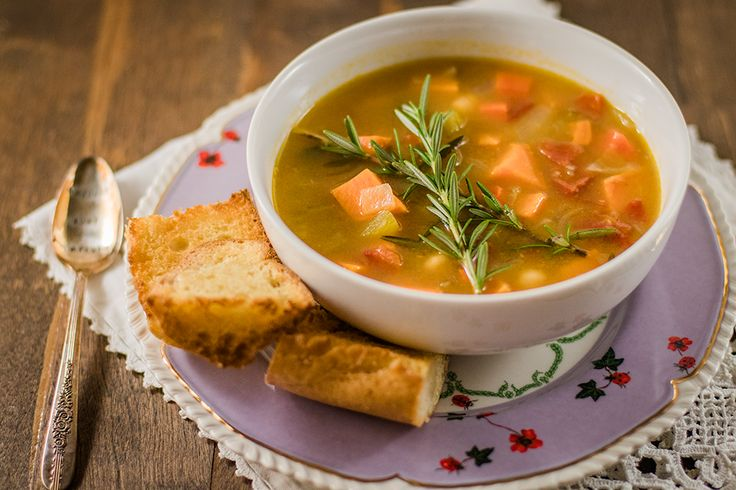 A warm and comforting vegan soup recipe that's ideal for cold days. This veggie soup is filled with hearty goodness like sweet potatoes and chickpeas.