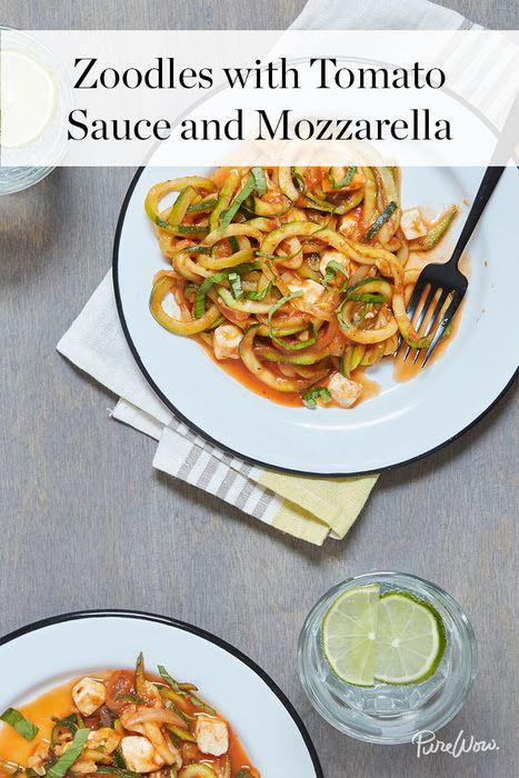 Zoodles with Tomato Sauce and Mozzarella via @PureWow via @PureWow