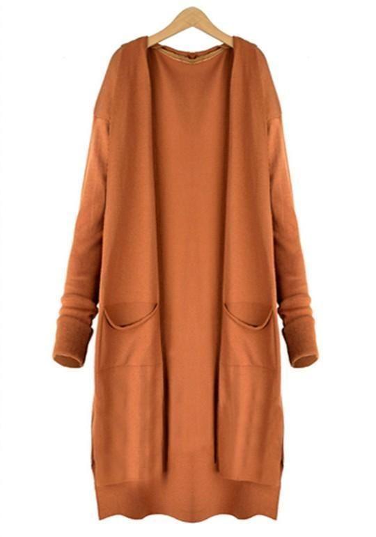 Orange Pockets Knitting Long Sleeve Casual Long Cardigan Sweater ... e96715059