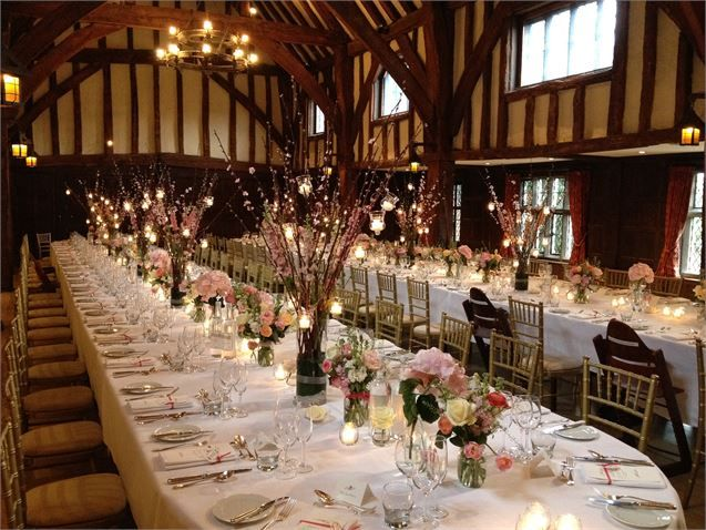 Spring Wedding Reception in the Tithe Barn - Great Fosters