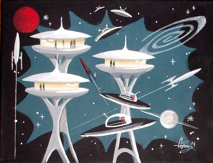 EL GATO GOMEZ PAINTING RETRO 1950S SPACE SHIP SCI-FI ROCKET ROBOT ATOMIC FUTURE #Modernism