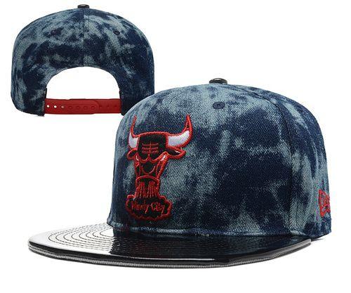 2015 New Arrival Chicago Bulls Snapback Hats Blue Gray Leather Brim 3ceaf90b705