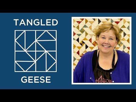 MSQC Tutorial - Tangled Geese Quilt: try with one-seam geese method and dimensional triangles on the center; curve the triangle sides??