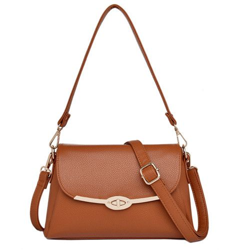 AIBKHK Business OL Hadbag Metal Rotation Lock Cover Style Messenger Satchels Women Luxury Genuine Leather Shoulder Crossbody Bag
