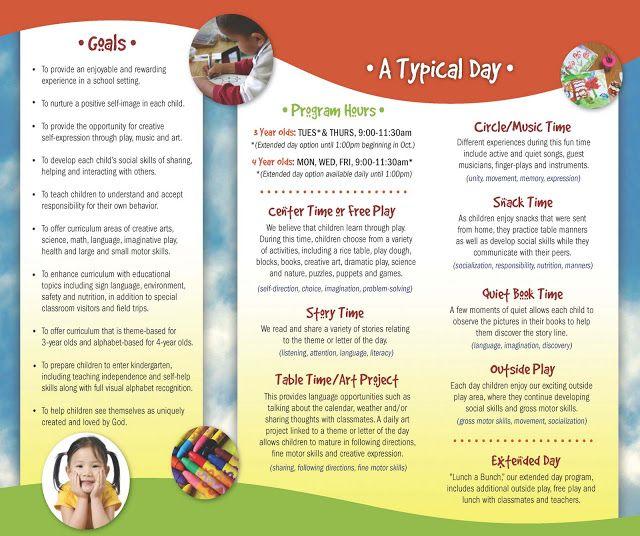 18 best images about Marketing Inspiration – Sample Preschool Brochure