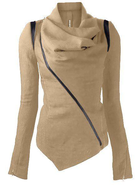 Stylish Cowl Neck Long Sleeve Zippered Leather Trim Jacket For Women