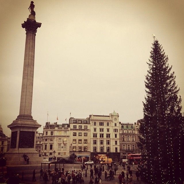 It may be cloudy and chilly but the Christmas tree in London's Trafalgar Square is getting us all excited for the Holidays!  #topshoplondon