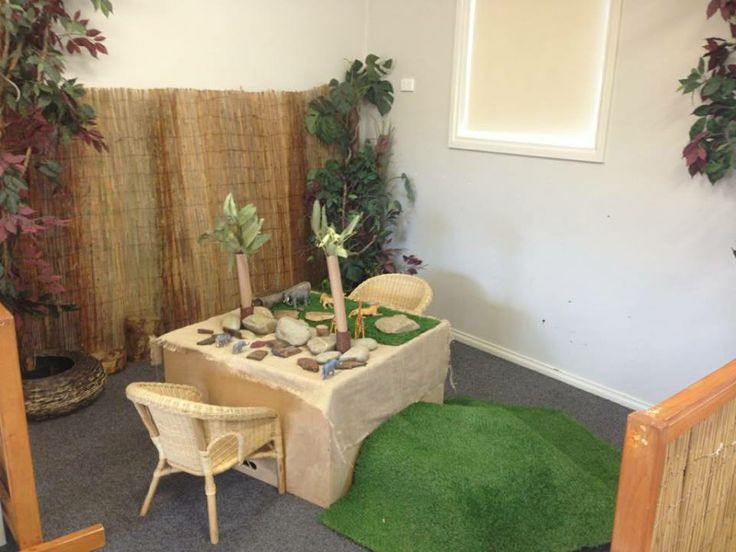 Nature corner beautifully set up for our pre kinder