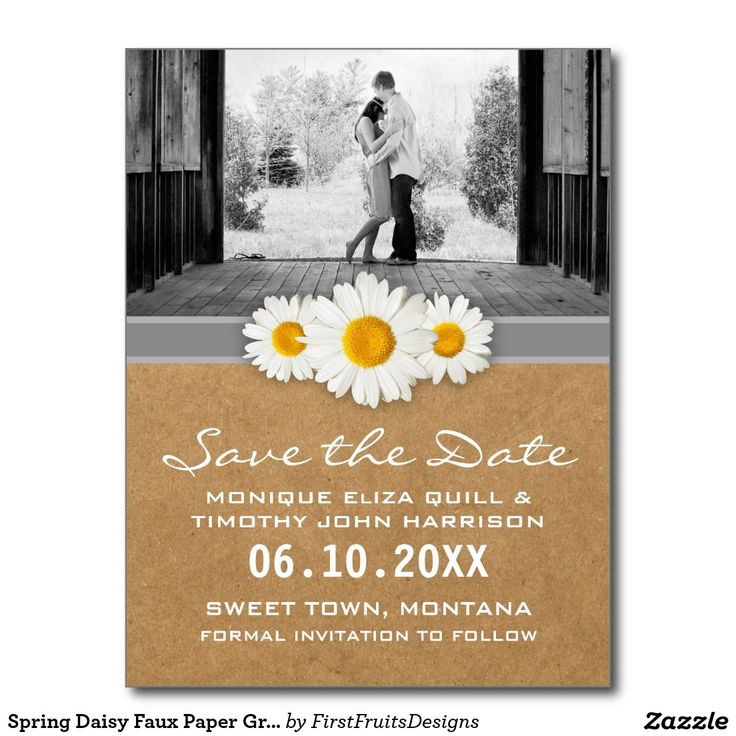 zazzle wedding invitations promo code%0A Spring Daisy Faux Paper Gray  u     White Save the Date Postcard