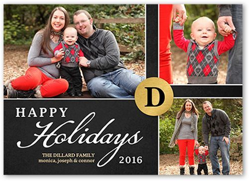 Golden Monogram Holiday Card, Square Corners, Black