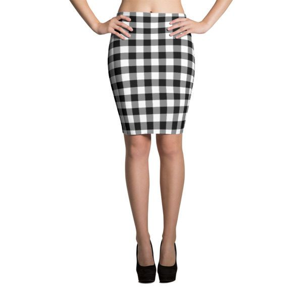 af663bfad Black and White Western Cowboy Buffalo Check Gingham Pencil Skirt Look  great in all-over printed body-hugging pencil style skirt with elastic  waistband.