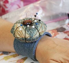 wrist style pin cushion made from denim and fabric scraps -- BJ