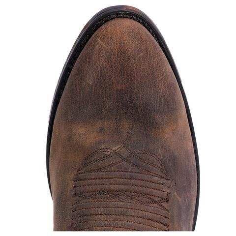 "These authentic handmade leather mens cowboy boots from Dan Post feature a 13"" shaft, r toe, and distressed leather outsole. Made with only premium materials an"