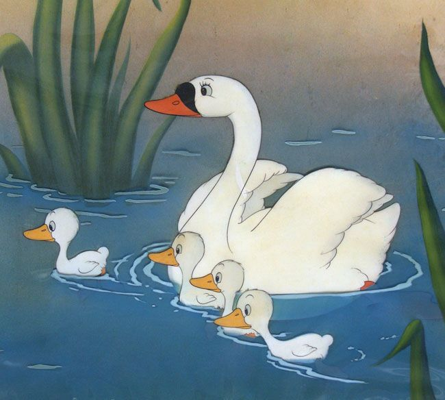 production cel of mother swan and cygnets with water