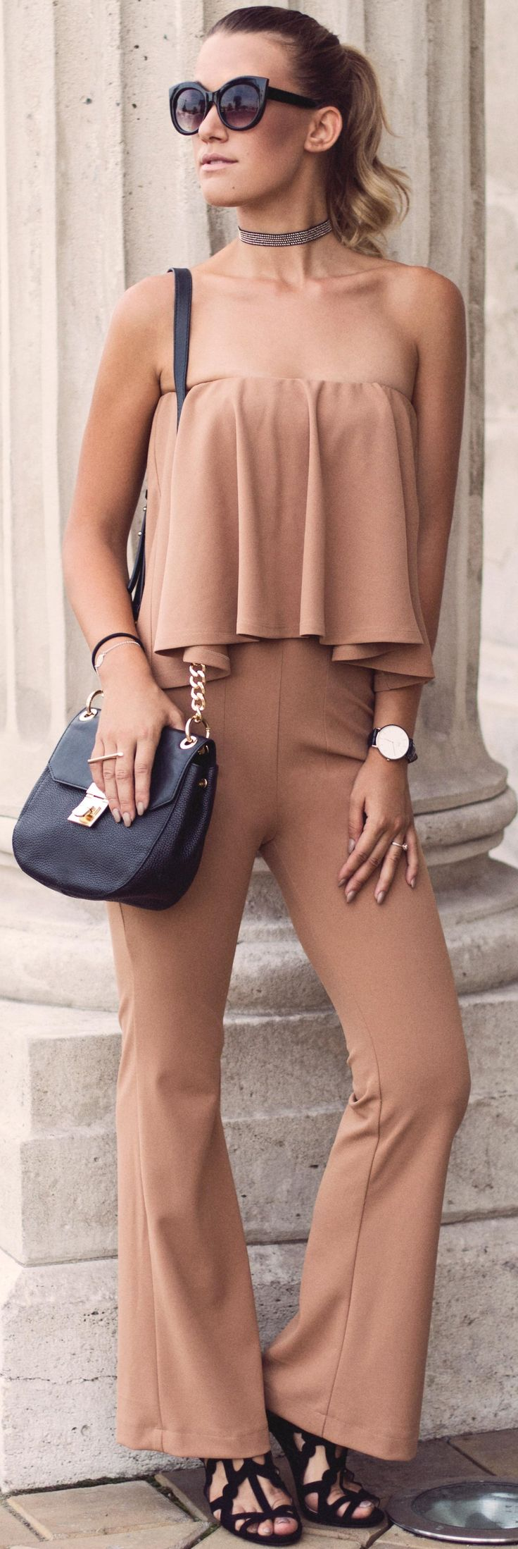 #fall #trending #street #outfits | Camel Jumpsuit + Pop Of Black