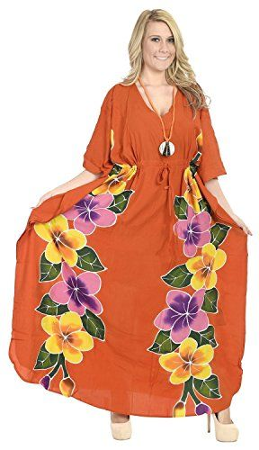 La Leela Rayon Hand Paint Caftan Women Nightgown Dress Kimono Coverup Orange. Do YOU want COVER UPS in other colors Like Red | Pink | Orange | Violet | Purple | Yellow | Green | Turquoise | Blue | Teal | Black | Grey | White | Maroon | Brown | Mustard | Navy ,Please click on BRAND NAME LA LEELA above TITLE OR Search for LA LEELA in Search Bar of Amazon. US Size : From Regular 14 (L) TO Plus Size 20W (2X) ➤ UK SIZE : FROM REGULAR 14 (M) TO 24 (XXL) ➤ BUST : 48 Inches [ 121 cms ]➤ Length : 64…