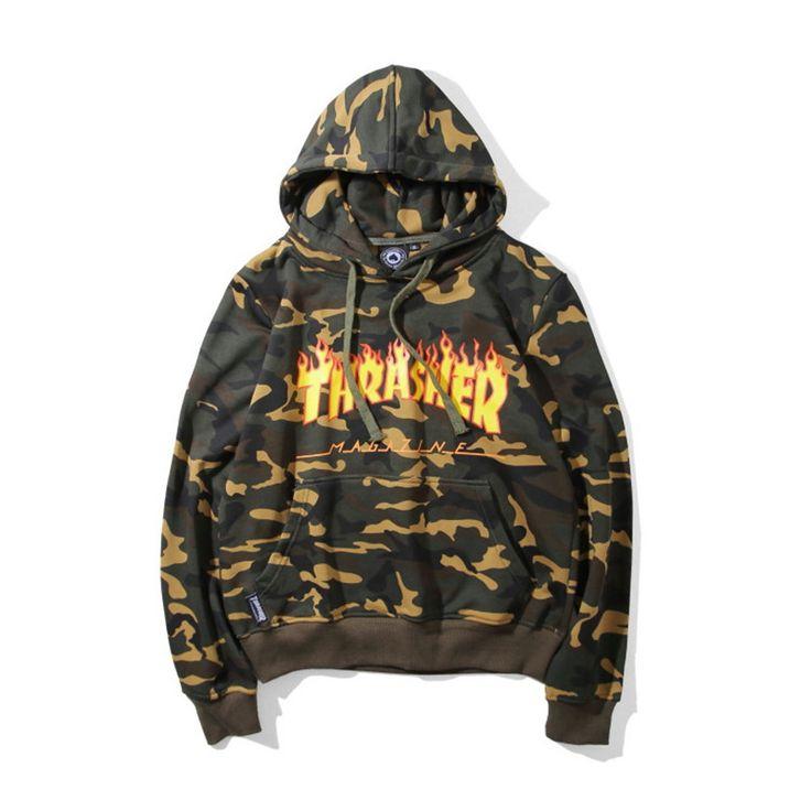 Thrasher Sweatshirt Men Women Hoodies Unisex Hip Hop Rock Streetwear Skateboard Camouflage Tracksuit Autumn Hoody ZOOTOP BEAR