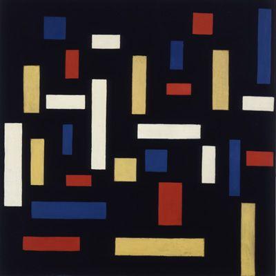 """El fundador del De Stijl fue Theo Van Doesburg (1883 - 1931) pintor neerlandés. Aquí su pintura """"Composition VII""""."""