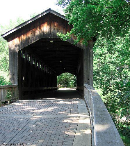 Covered wooden bridge in Ada Michigan