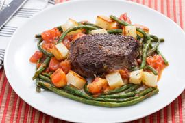Steaks & Roasted Potatoes with Sautéed Long Beans & Tomato