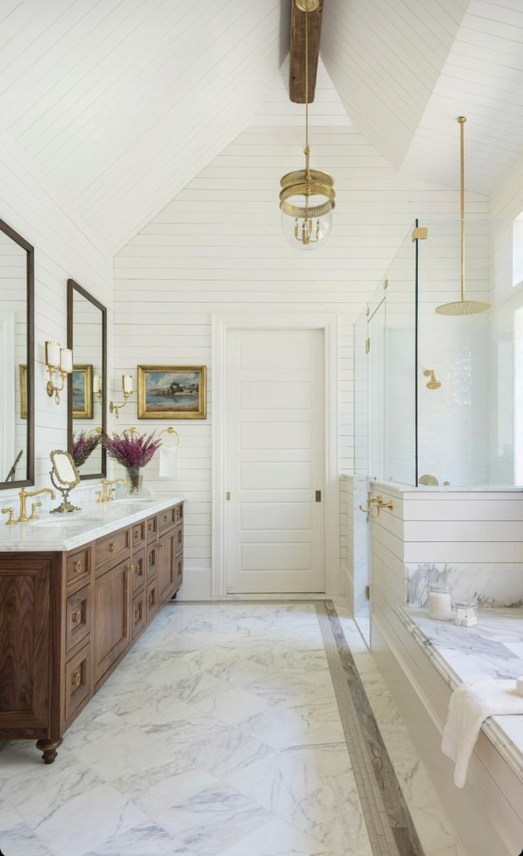 Grand Master Bathroom With Marble And Stained Vanity Bathroom Interior Bathroom Remodel Master Small Bathroom Remodel [ 1205 x 736 Pixel ]