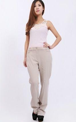 Plus Size OL Simple Design Pure Pants Beige