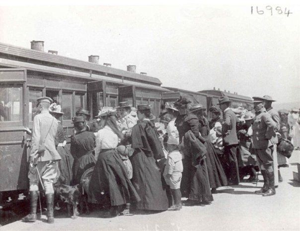 """Caption: """"Boer refugees leaving Harrismith"""". My family were tansferred from Harrisith CC to Ladysmith (Natal) to the CC called Tin Town."""
