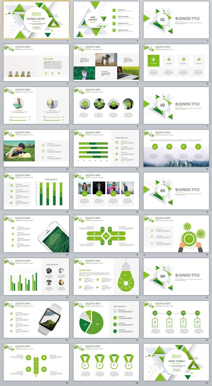 27 Green Business Dynamic Powerpoint Presentations Template