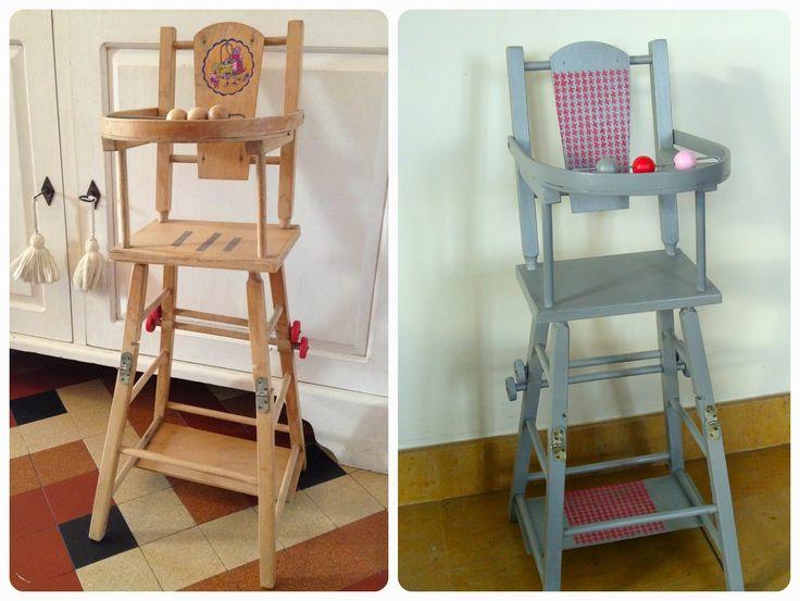 """Chaise haute pour poupée """"Avant/Après"""", sur www.tadaam.fr"""