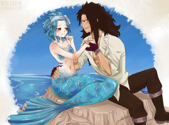 Levy and Gajeel. The curious and wise mermaid with a rude pirate captain! Oh, holy shit! I loved this pin!