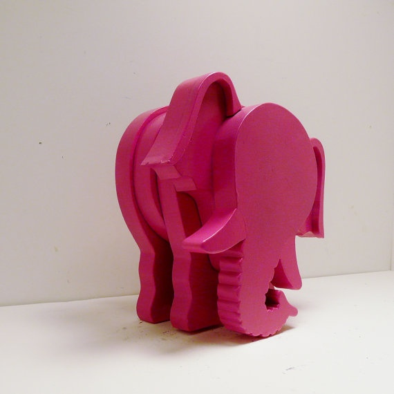 Wood Elephant Figurine Hot Pink Magenta Home Decor Modern Country Upcycled Wooden Animal