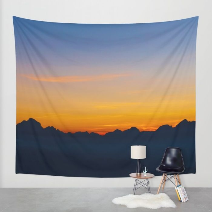 Wispy Mountain Glow Wall Tapestry by Mixed Imagery | Society6
