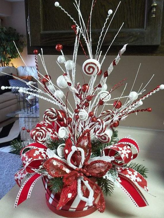 PEPPERMINT  PARTY  Festive Holiday Tabletop Centerpiece Decoration by DecorClassicFlorals, $129.95
