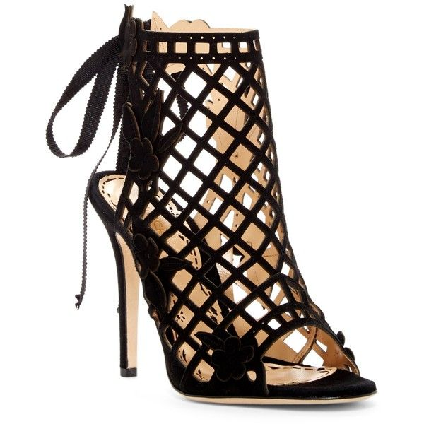 Marchesa Edith Runway Caged Sandal ($460) ❤ liked on Polyvore featuring shoes, sandals, black, black caged sandals, black open toe shoes, open toe sandals, cage sandals and open toe shoes